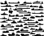 Vector set of 56 silhouettes of sea towboat and the ships — Stock Vector