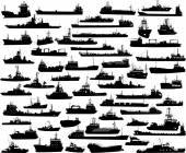 Vector set of 57 silhouettes of sea towboat and the ships — Stockvektor