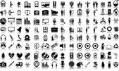 Set of 120 (one hundred twenty) vector icons of business, media, ecology and medical — Stock Vector