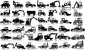 Set of 41 silhouettes of a tractors of road service — Stock Vector