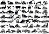 Set of 48 silhouettes of a tractors of road service — Vector de stock