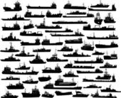 Vector set of 59 silhouettes of sea towboat and the ships — Vetor de Stock