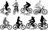 Set of 8 silhouettes of the cyclist — Stock Vector