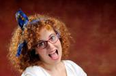 Funny red-haired girl shout out — Stock Photo
