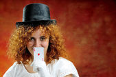 Red-haired girl with ace of hearts — Stock Photo