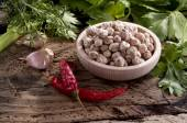 Chickpeas and flavors — Stock Photo
