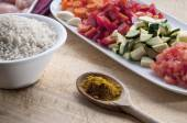 Ingredients for chicken curry — Stock Photo