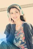 Woman listening music — Foto de Stock