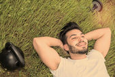 Relax happy after gim warm filter and a lens flare applied — Stock Photo