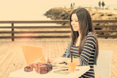 Young woman working on laptop by the sea warm filter applied — Stock Photo
