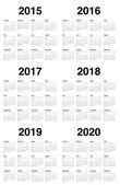 Calender 2015 2016 2017 2018 2019 2020 — Stock Vector