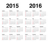 Calender 2015 and 2016 — Stock Vector