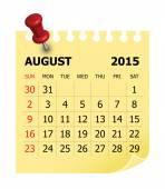 2015 Calendar- August — Stock Vector