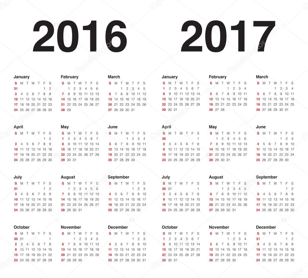 Calendrier 2016 2017 — Image vectorielle dolphfynlow © #86321080