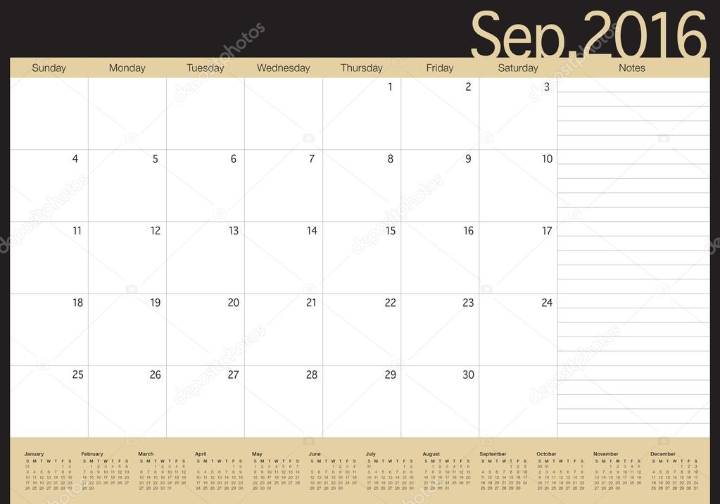 Table Calendar 2016 : Table calendar september — stock vector