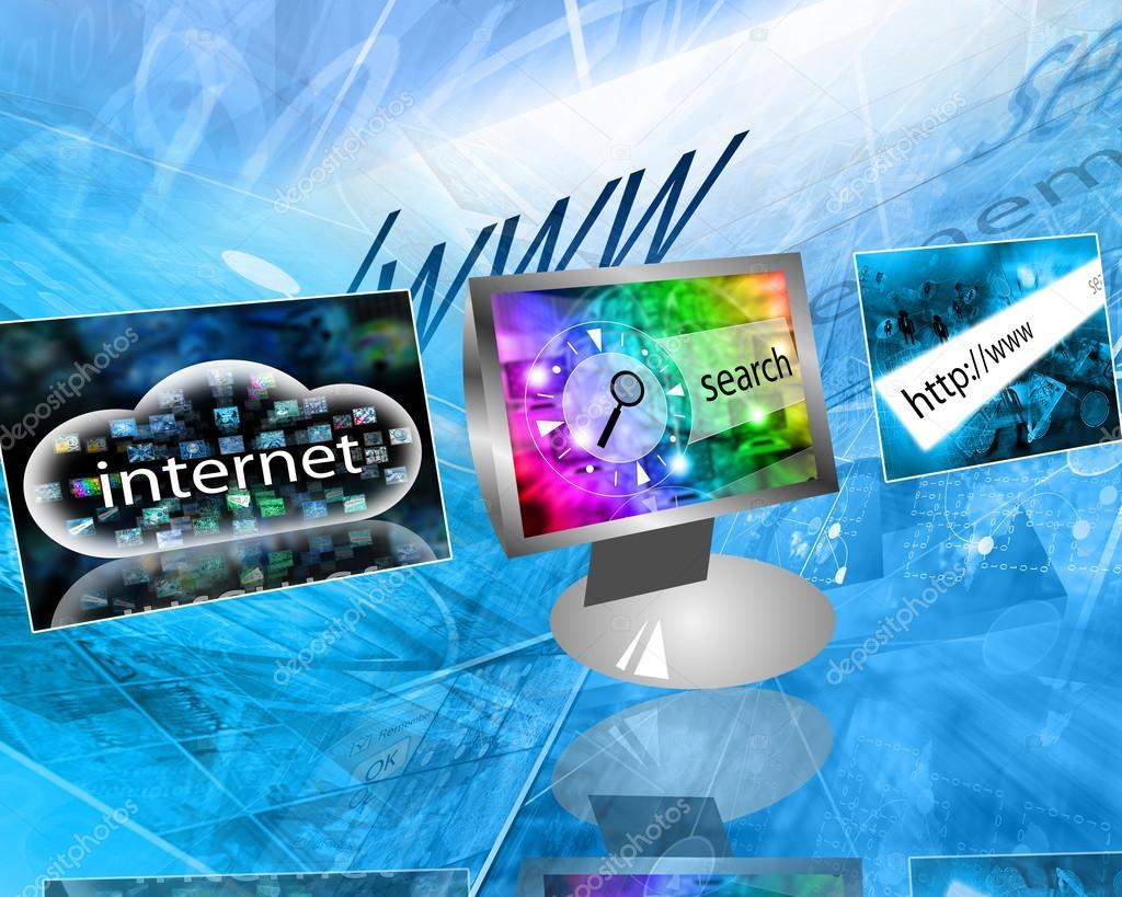 许多抽象的形象为主题的计算机, 互联网和高科技— photo by sssr