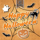 Halloween background with cat, bats and pumpkins — Stock Photo