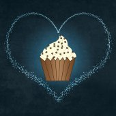 Cartoon Cupcake on vintage background — Foto Stock