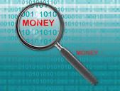 Close up of magnifying glass on money — Stock Photo