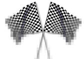 Two large Checkered Flag — Stock Photo