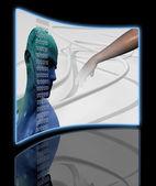 Digital Cyber Circuit Head 3D — Stock Photo