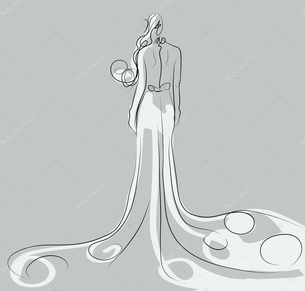 漂亮的裙子铅笔画_绘画分享