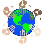 Hand prints working globally — Stock Vector #51807639