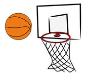 Basketball being shot into hoop — Stock Vector