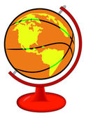 Basketball on globe stand — Stock Vector