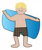Blond boy in swim trunks — Stock Vector