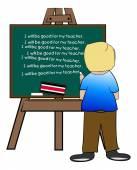 Chalkboard easel with naughty boy — Stock Vector