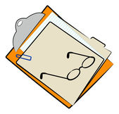 Clipboard with full file folder — Stock Vector