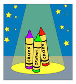 Colorful crayons dancing — Stock Vector