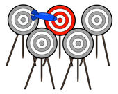 Dart choosing the right target — Stock Vector