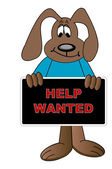Cartoon dog holding help wanted sign — Stock Vector