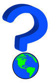 Earth or globe as part of question mark — Stock Vector
