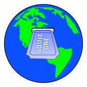 World globe with slot for admit one ticket — Stockvektor