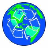 Terra ou globo com setas de reciclar — Vetorial Stock