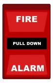 Illustration of red wall style fire alarm — Stock Vector