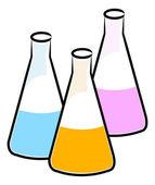 Illustration of three flasks — Stock Vector