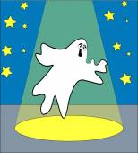 Ghost on stage — Stock Vector
