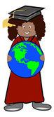 Graduate holding the globe — Stock Vector