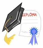Graduation hat and diploma — Stock Vector