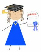 School graduate with diploma — Stock Vector