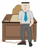 Business man chained to his desk — 图库矢量图片