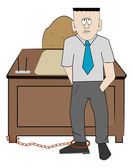 Business man chained to his desk — Stok Vektör