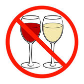 Two Wine glasses with not allowed symbol — Stock Vector