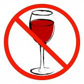 Wine glass with not allowed symbol — Stock Vector