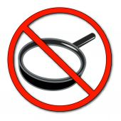 No symbol with magnifying glass — Stock Vector