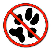 Paw print with not allowed symbol — Stock Vector
